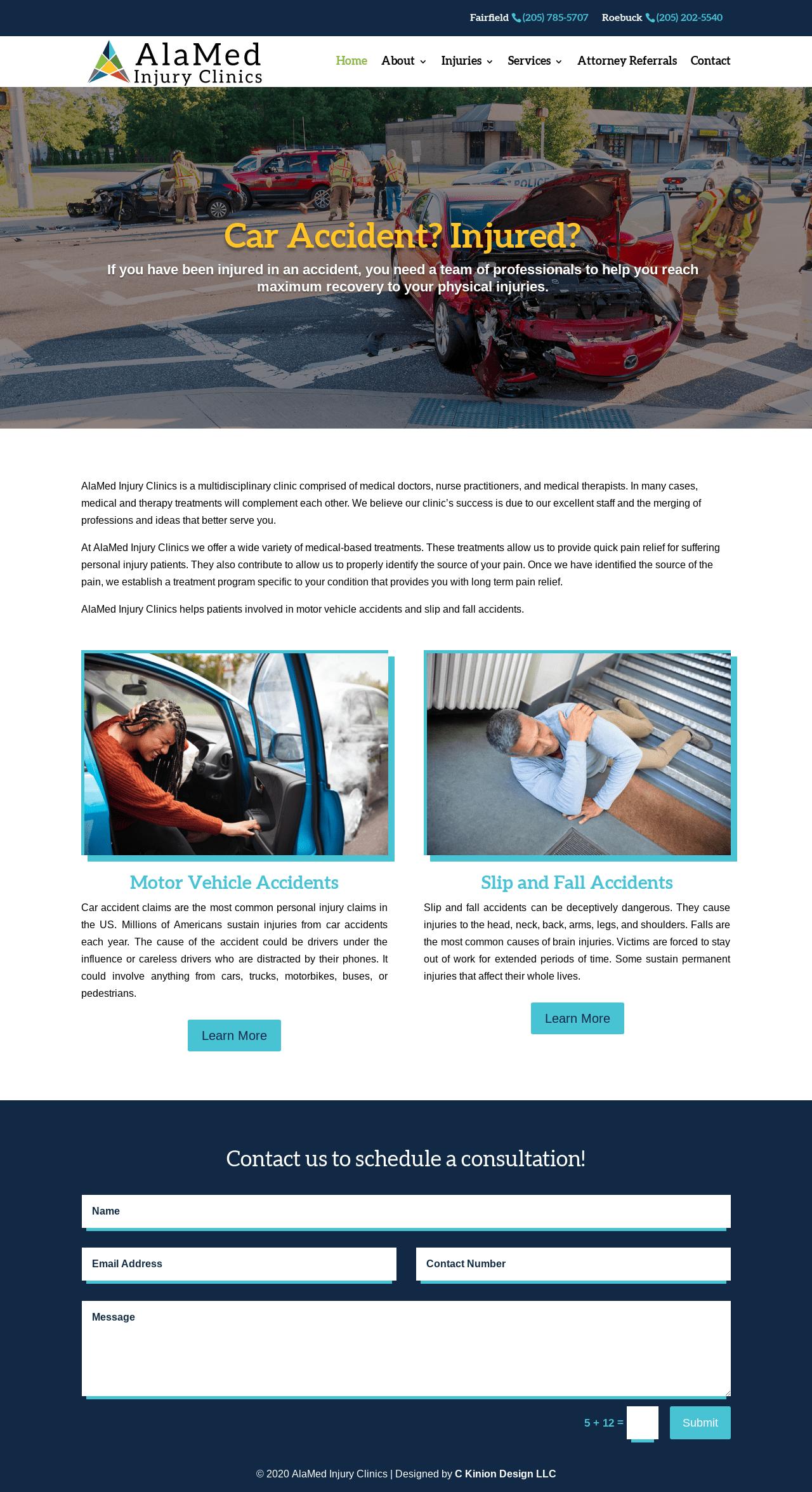 Birmingham-Web-Design-Agency-C-Kinion-Design- AlaMed Injury Clinics -full page