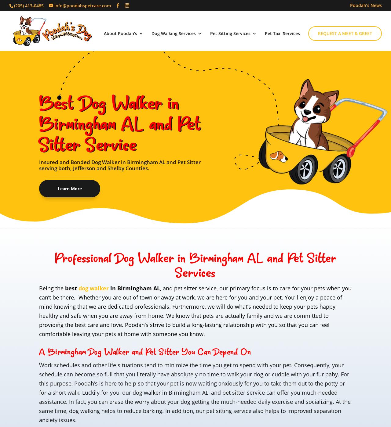 Birmingham Website Design Agency - C Kinion Design - Poodah's Dog Walking and Pet Sitting Services - Half Page
